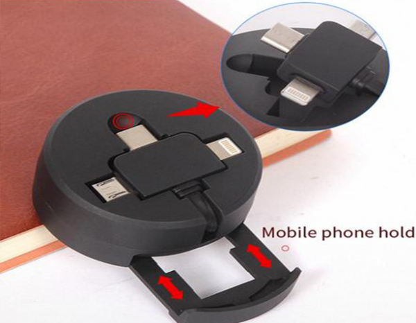 Coin 3 in 1 Retractable Charging Cable with Phone Stand